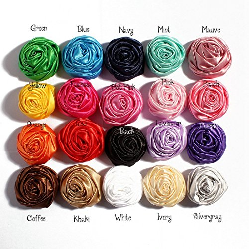 (Mixed Colors Flat-Bottomed Bohemian Style DIY Handmade Decorative Chiffon Flowers with Pearl and Rhinestone for Hair Clips, Scrapbooking and More Decoration,Wedding Flowers(20Pcs) Rosebuds)