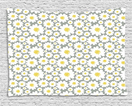 Floral Tapestry by Ambesonne, Cartoon like Flowers Daisies Spring Time Season Pollens Artwork Print, Wall Hanging for Bedroom Living Room Dorm, 60WX40L Inches, Light Grey Yellow White