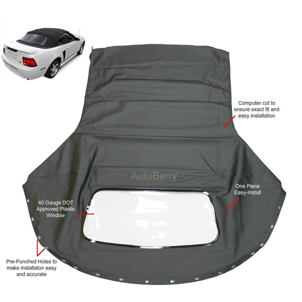 Replacement for Ford Mustang 1994-2004 Convertible Soft Top /& Plastic window Black Sailcloth 1 piece easy install