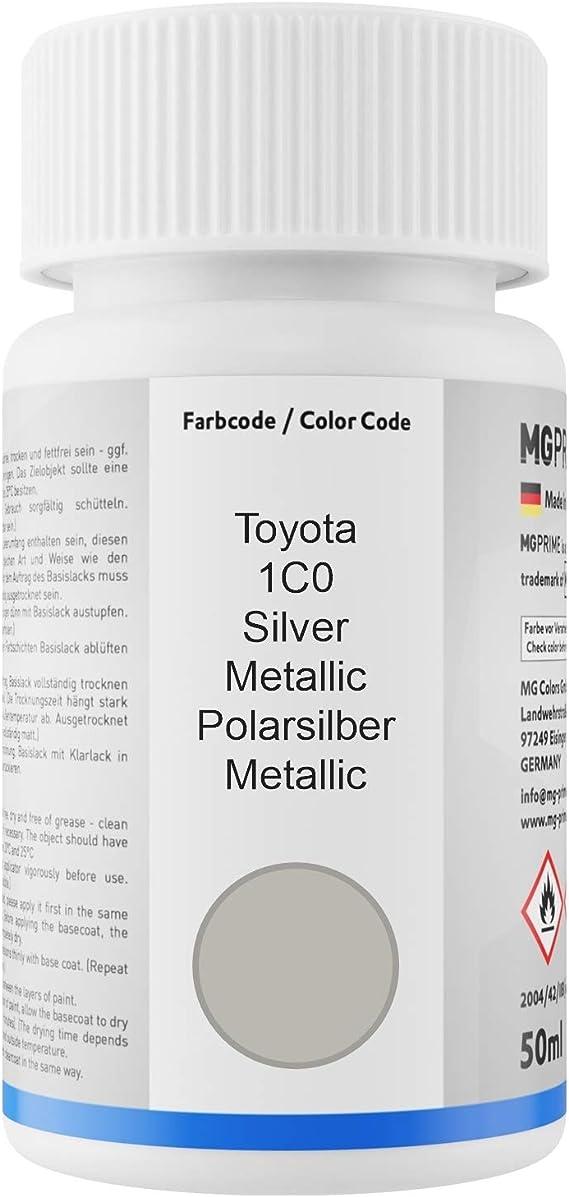 Mg Prime Autolack Lackstift Set Für Toyota 1c0 Silver Metallic Polarsilber Metallic Basislack Klarlack Je 50ml Auto