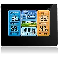 Station météo sans fil Station météo numérique de prévision de la température Thermomètre extérieur intérieur avec alarme et humidité Baromètre Alarme Horloge météorologique de la phase lunaire avec capteur extérieur
