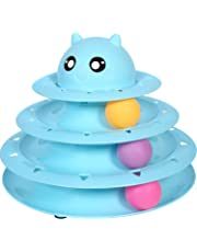 Cats Toys Ball Tower Cat Fun 3-Level Tower Ball & Track Indoor Cats Pet Roller Ball Cat Play Super Roller Super Fun PP Material More Durable Stronger … (Blue)