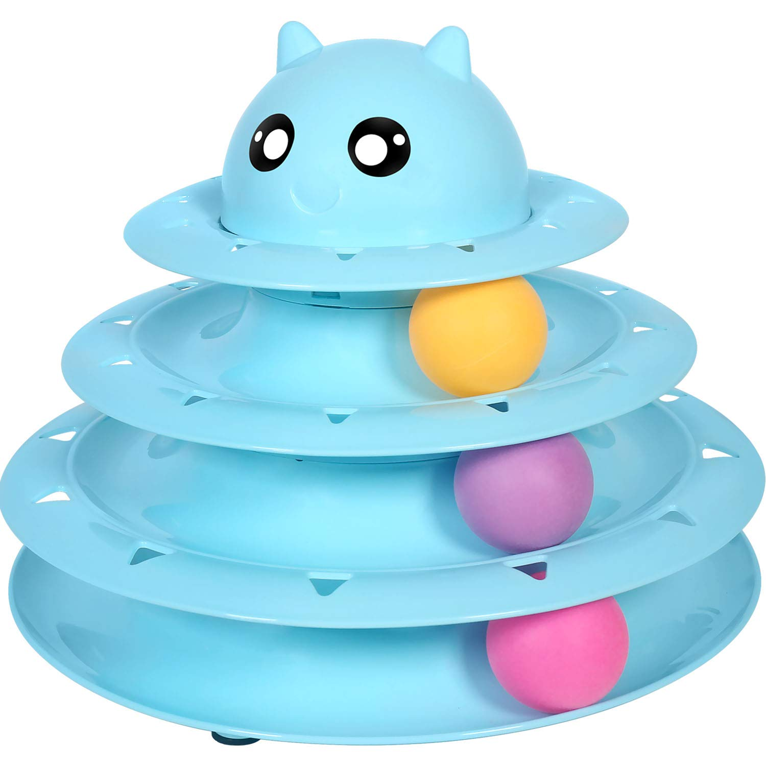 UPSKY Cat Toy Roller Cat Toys 3 Level Towers Tracks Roller with Three Colorful Ball Interactive Kitten Fun Mental Physical Exercise Puzzle Toys …