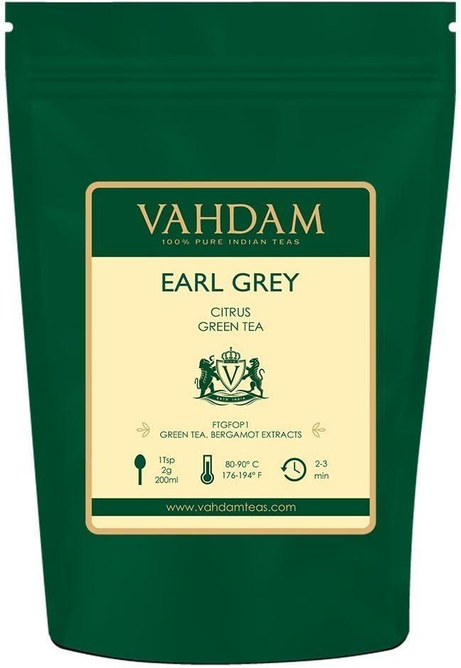 Foglie Di T� Verde Dell' Himalaya Earl Grey, 200g (100 tazze)   T� Verde Darjeeling di alta qualit� mescolato con estratti naturali di bergamotto   Green Tea dall'India