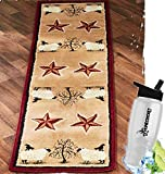 Gift Included- Farmhouse Country Decor Primitive Rugs with Stars Jute-Backed Rugs and Runners for Hardwood Floors + Free Bonus Water Bottle by Homecricket (Runner)