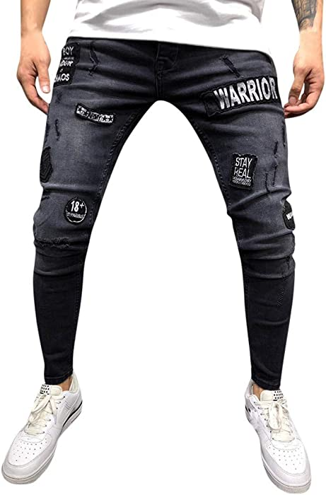 NUWFOR Mens Stretch Denim Pant Distressed Ripped Freyed Slim Fit Pocket Jeans Trousers White