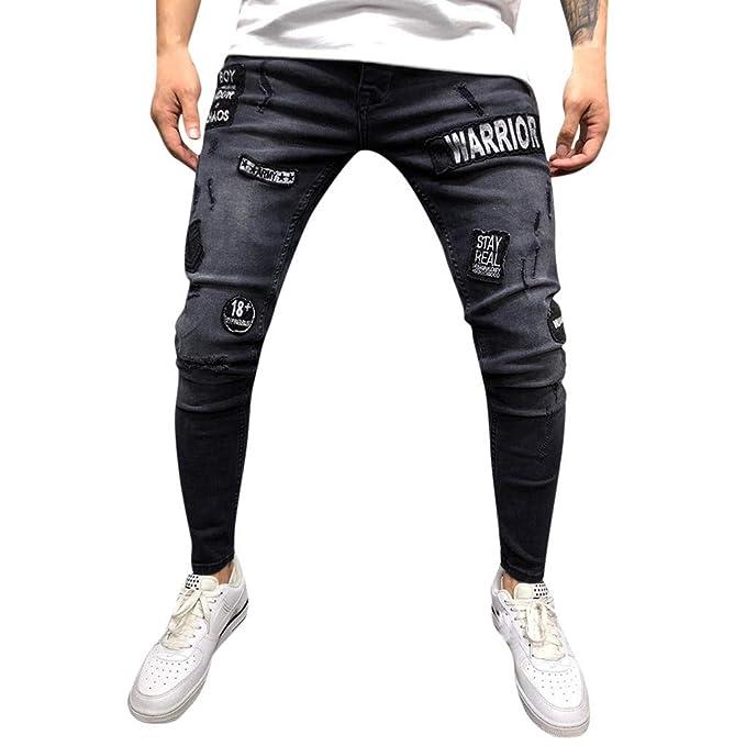 Pantalones Vaqueros SUNNSEAN Elásticos para Hombre ...