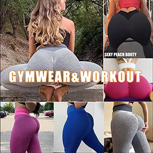 Boogear TikTok Leggings High Waist Booty Yoga Pants Butt Scrunch Anti Cellulite Tummy Control Workout Tights (Pink, X-Large)