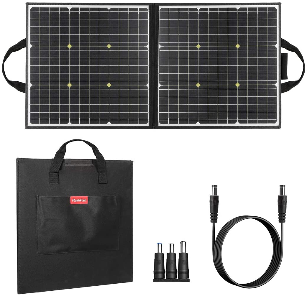 50W 18V Portable Solar Panel, Flashfish Foldable Solar Charger with 5V USB 18V DC Output Compatible with Portable Generator, Smartphones, Tablets and More : Garden & Outdoor