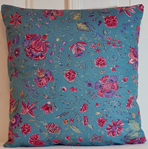 Handmade Teal Dutch Heritage Chintz Pillow Cover Floral Throw Cushion - pick your size