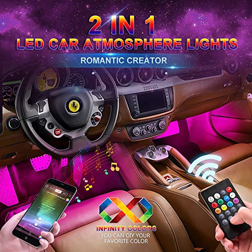 BOYKA Car LED Strip Light, Upgraded Remote and APP Two-in-one Control Multicoloured Music Car Interior Lights, 4pcs 48 LED, Sound Active Function, Waterproof, Multi-Mode Change(DC 12V)