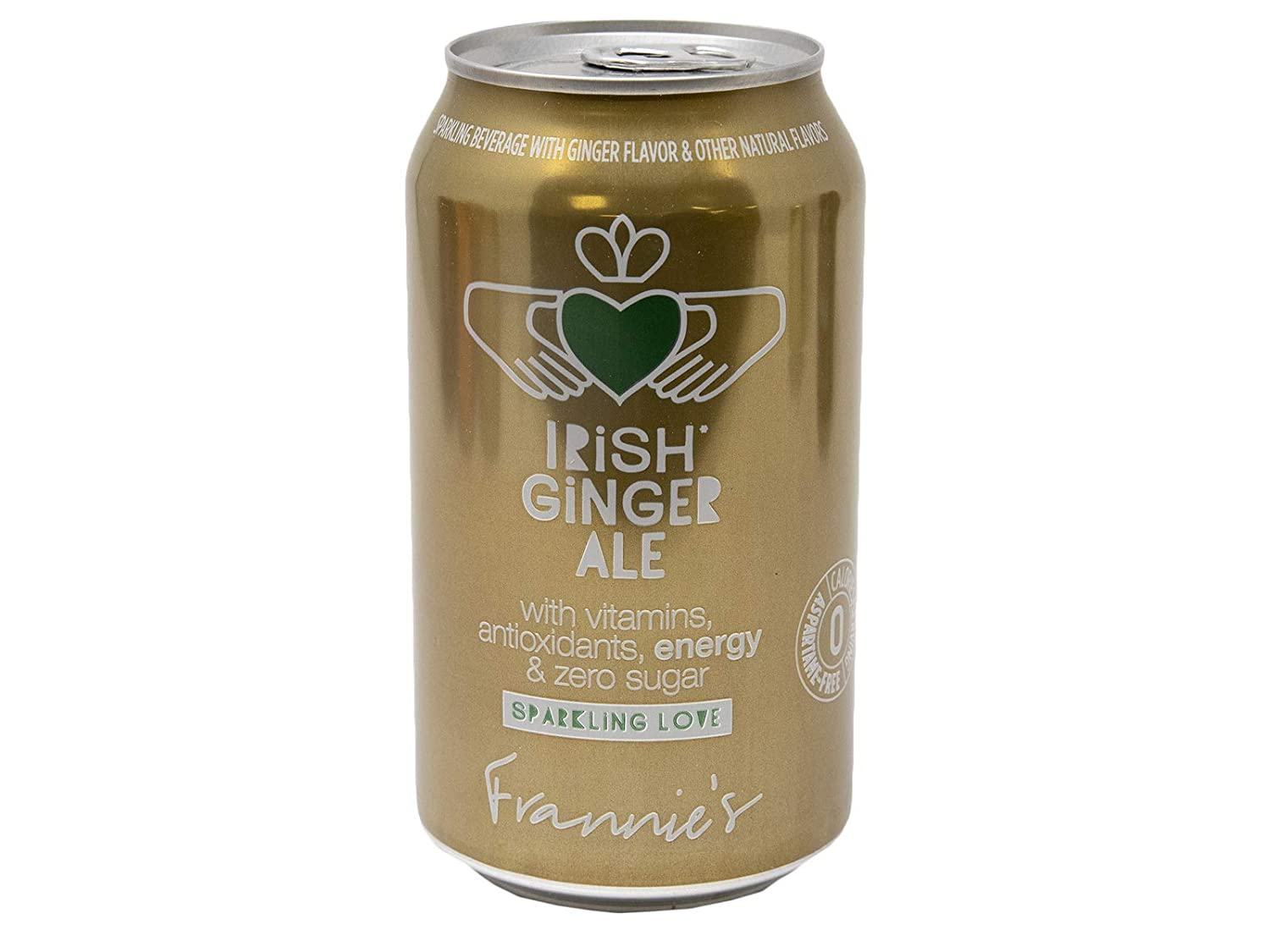 Frannie's Sparkling Irish Ginger Ale, Protected With High-Density Foam, With Vitamins, Antioxidants, Energy, and Zero Sugar, 12 Oz. Cans (Case of 24 Cans)