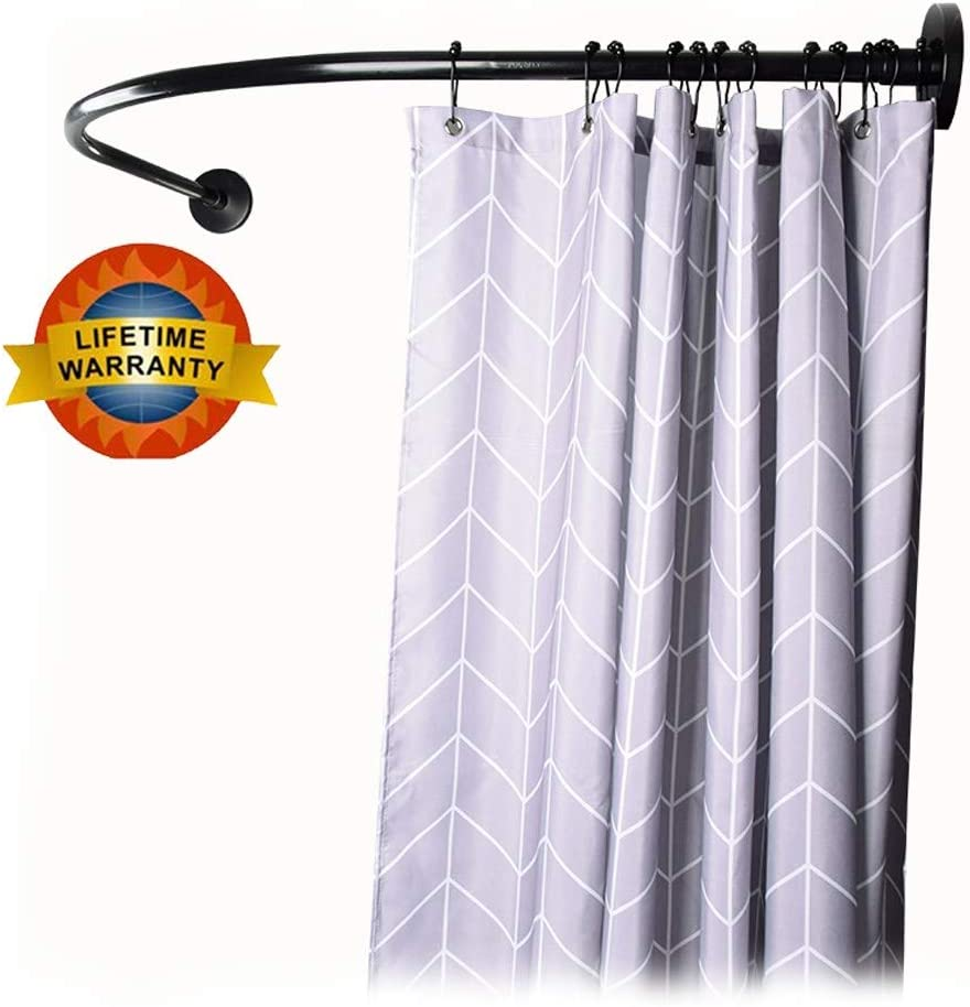 Amazon Com Y Only Black Shower Curtain Rod Tension Curved Shower