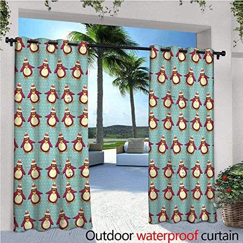 cobeDecor Christmas Fashions Drape Vintage Holiday Pattern with Penguins Funny Arctic Animals Xmas in North Pole Outdoor Curtain Waterproof Rustproof Grommet Drape W120 x L84 Multicolor - Packers North Pole