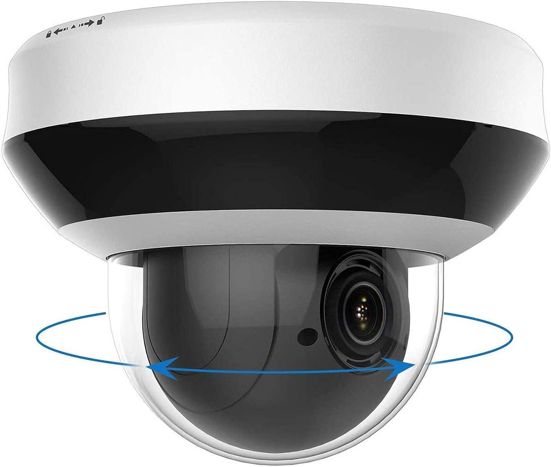 PoE IP PTZ Cámara 4MP Zoom 4X, IP Cámara de Seguridad al Aire Libre Visión Nocturna IR Resistente a la Intemperie, con Alarma de Audio Ranura para Tarjeta SD, detección de Movimiento