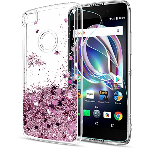 T-Mobile REVVL Case (Not Fit REVVL Plus), Alcatel A30 Fierce/ A30 Plus Case with HD Screen Protector, LeYi Glitter Bling Liquid Girls Women Protective Case for Alcatel Walters 2017 (5.5) ZX Rose Gold