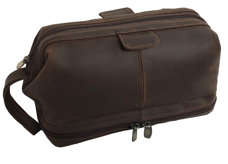 CDM product Genuine Buffalo Leather Unisex Toiletry Bag Travel accessories Dopp Kit big image