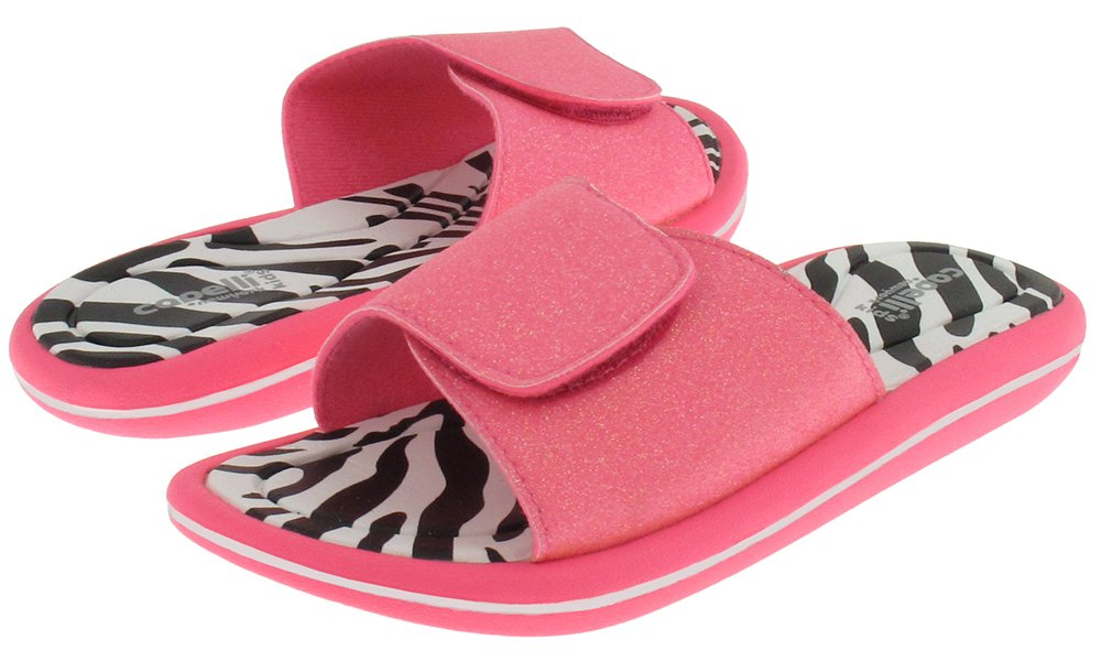 Capelli New York Neon Fine Glitter With Velcro Upper On Zebra Printed Girls Pink Combo 10/11