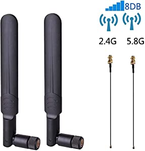 2 x 8dBi WiFi RP-SMA Male Antenna 2.4GHz 5.8GHz Dual Band +2 x 15CM U.FL/IPEX to RP-SMA Female Pigtail Cable for Mini PCIe Card Wireless Routers, PC Desktop, Repeater, FPV UAV Drone and PS4 Build