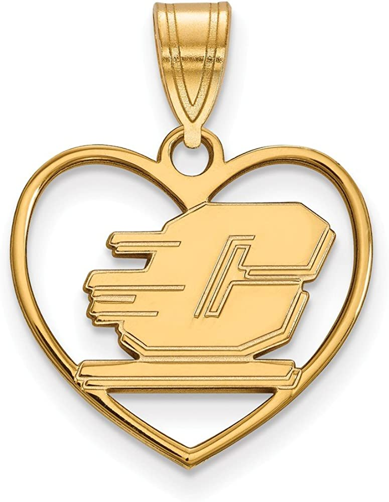 21mm x 17mm 925 Sterling Silver Yellow Gold-Plated Official Central Michigan University Pendant Charm in Heart