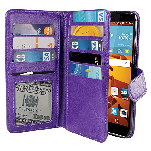 LG G Stylo LS770 G4 Note G Vista 2 H740 2nd 2015 Case, NEXTKIN PU Leather Dual Wallet Folio TPU Cover, 2 Large inner Pockets Double flap Privacy, 9 Card Slots Holder Snap Button & Wrist Strap - Purple