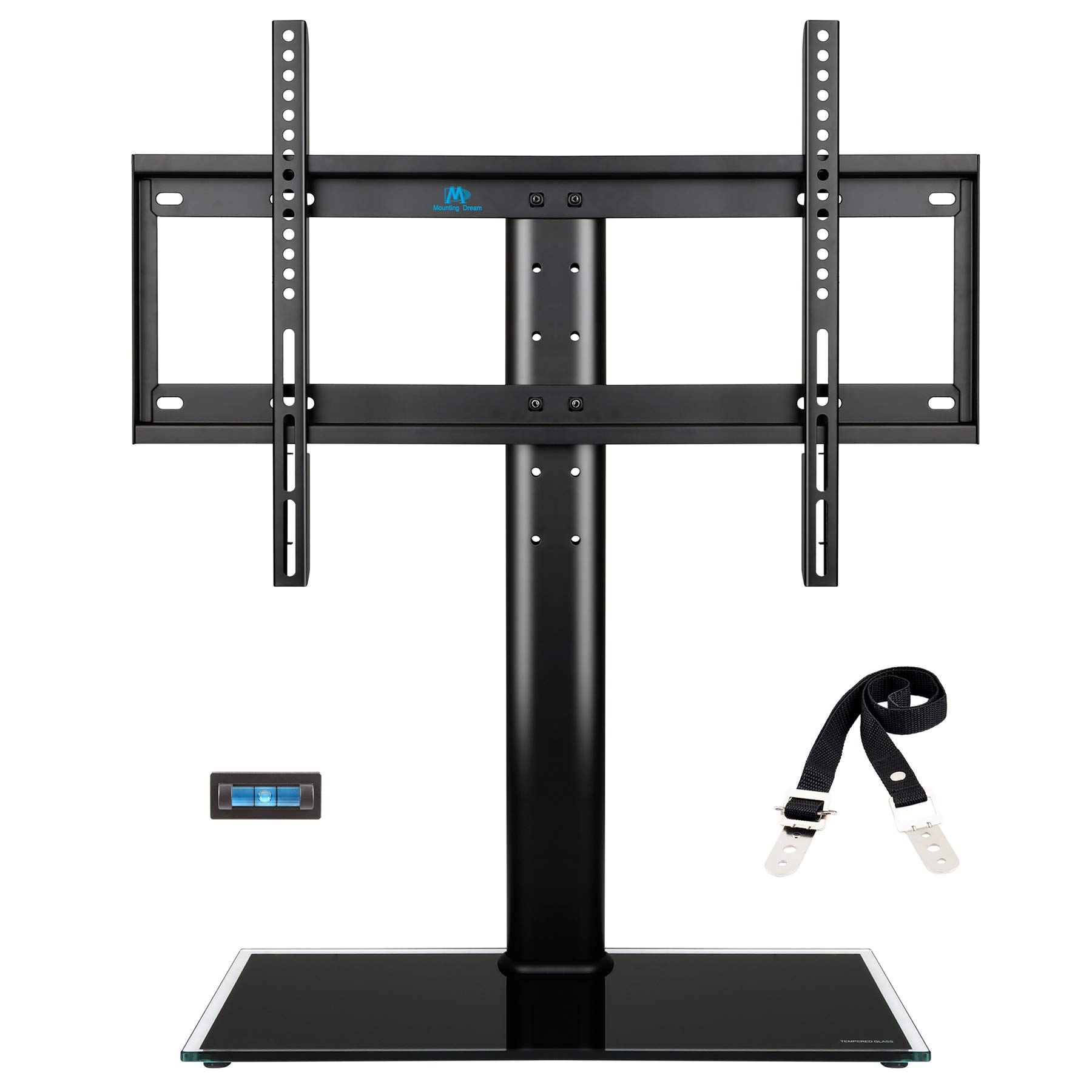 Mounting Dream MD5109 table top TV stand with anti-tip strap, 3 set height adjustment and tempered glass base fit for most of 42-60 Inches Plasma, LED, and LCD TVs with Max VESA 600x400mm (24'' x16'')