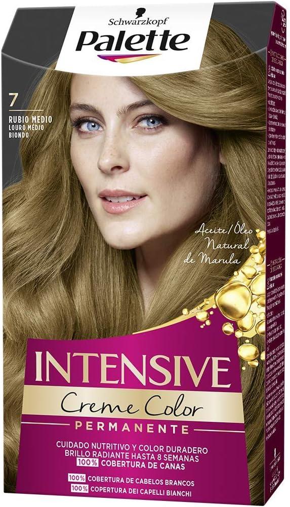 Schwarzkopf Palette Intensive Creme Color – Tono 7 cabello Rubio Medio - Coloración Permanente de Cuidado con Aceite de Marula – Óptima cobertura de ...