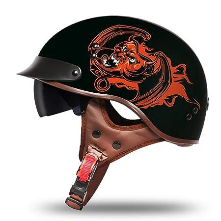 QHZ Vintage Harley Motorcycle Beanie Half Helmet Cara Abierta Adulto Flying Boys and Girls Riding Half Shell Safety Dot Certificaci/ón Black Applique Bike Scooter Helmet,M