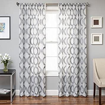 Softline Conner Boucle Sheer Curtain Panel Silver 55 X 120 Inches