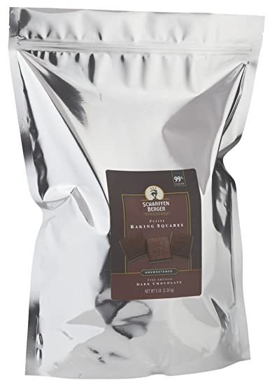 SCHARFFEN BERGER Baking Chocolate Squares 99 Cacao Unsweetened Dark 5 Pound