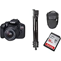 Canon EOS 1300D DSLR Camera 18-55mm 3.5-5.6 III lens + Power TR380 Light Weight Tripod + SanDisk Ultra SDHC 16GB Memory Card + Carry Case Bundle Kit