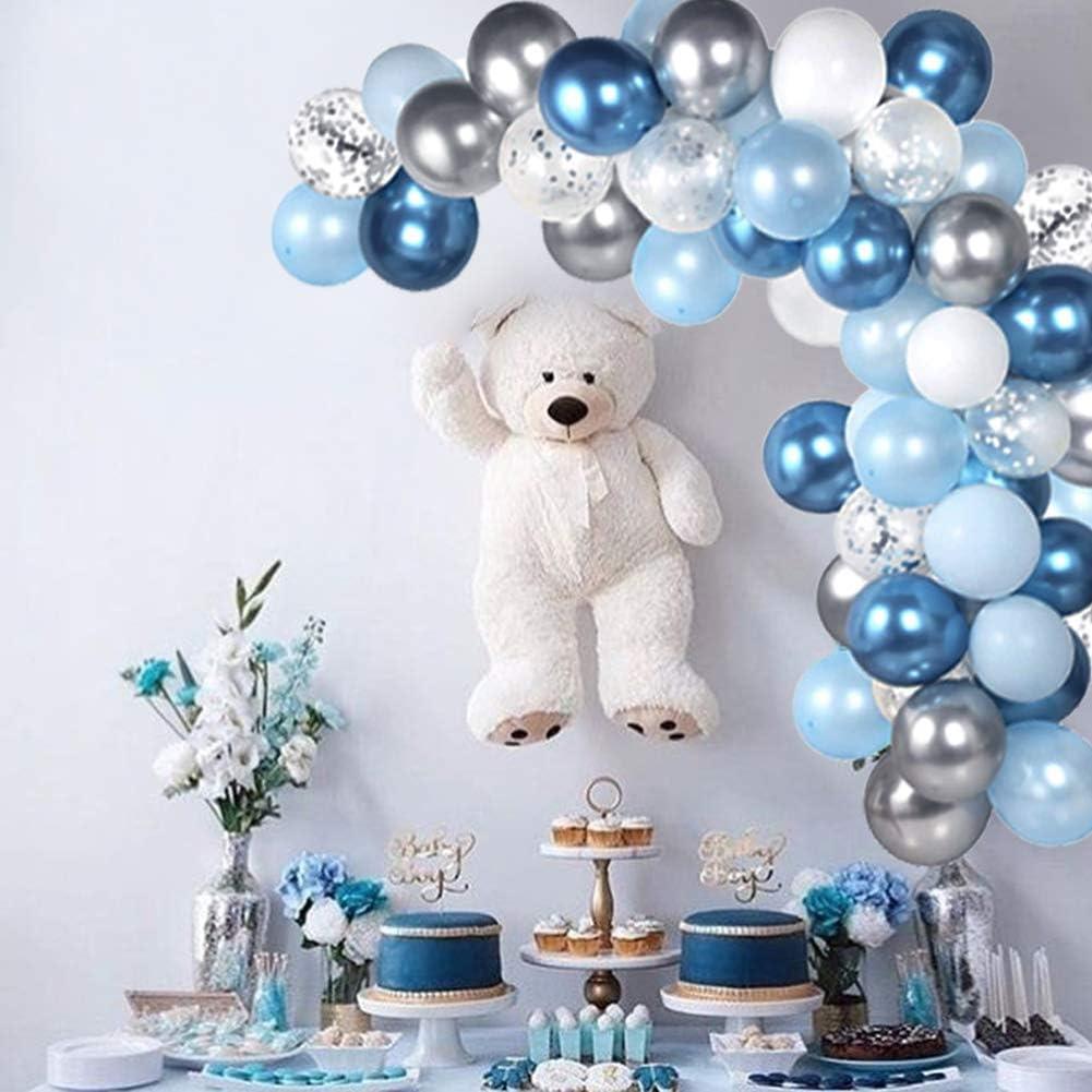 104pc Blue Balloon Arch Garland Kit Blue and Silver Balloons Navy Royal Blue Ballon Silver Metallic Balloons For Baby Shower Blue Birthday Balloon Wedding Party Decorations Supplies: Toys & Games