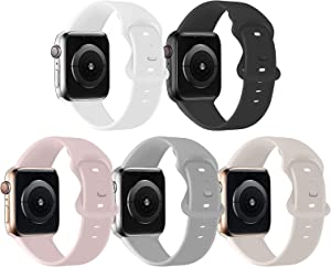 Bifeiyo 5 Pack Sport Bands Compatible with Apple Watch Band 38MM 40MM SM,Soft Silicone Replacement Strap Compatible for iWatch Series SE 6 5 4 3 2 1 Women Men,Fog/Stone/Pink Sand/Black/White