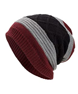 NRUTUP Warm Oversized Chunky Soft Oversized Cable Knit Slouchy Beanie, Deals! (Wine, Free Size)