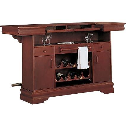 Amazon.com: Coaster Traditional Cherry Finish Bar Unit w/Wine Rack ...