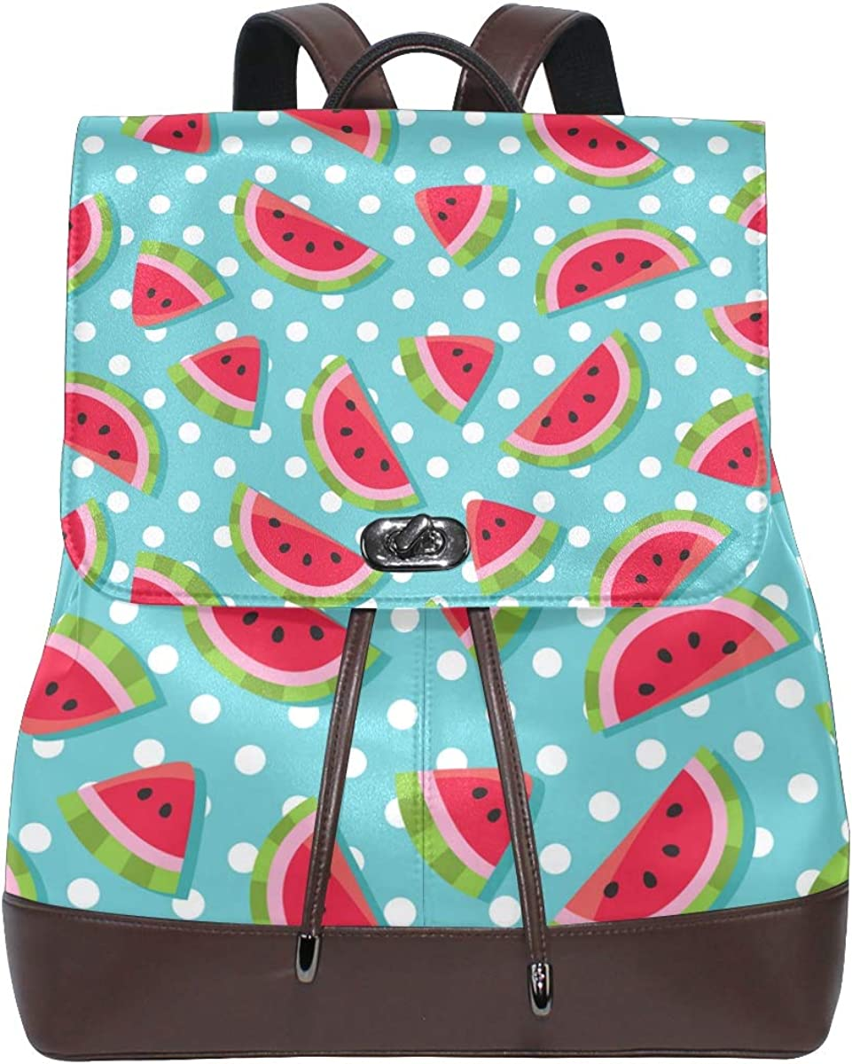 KEAKIA Women PU Leather Watermelons Pattern Backpack Purse Travel School Shoulder Bag Casual Daypack