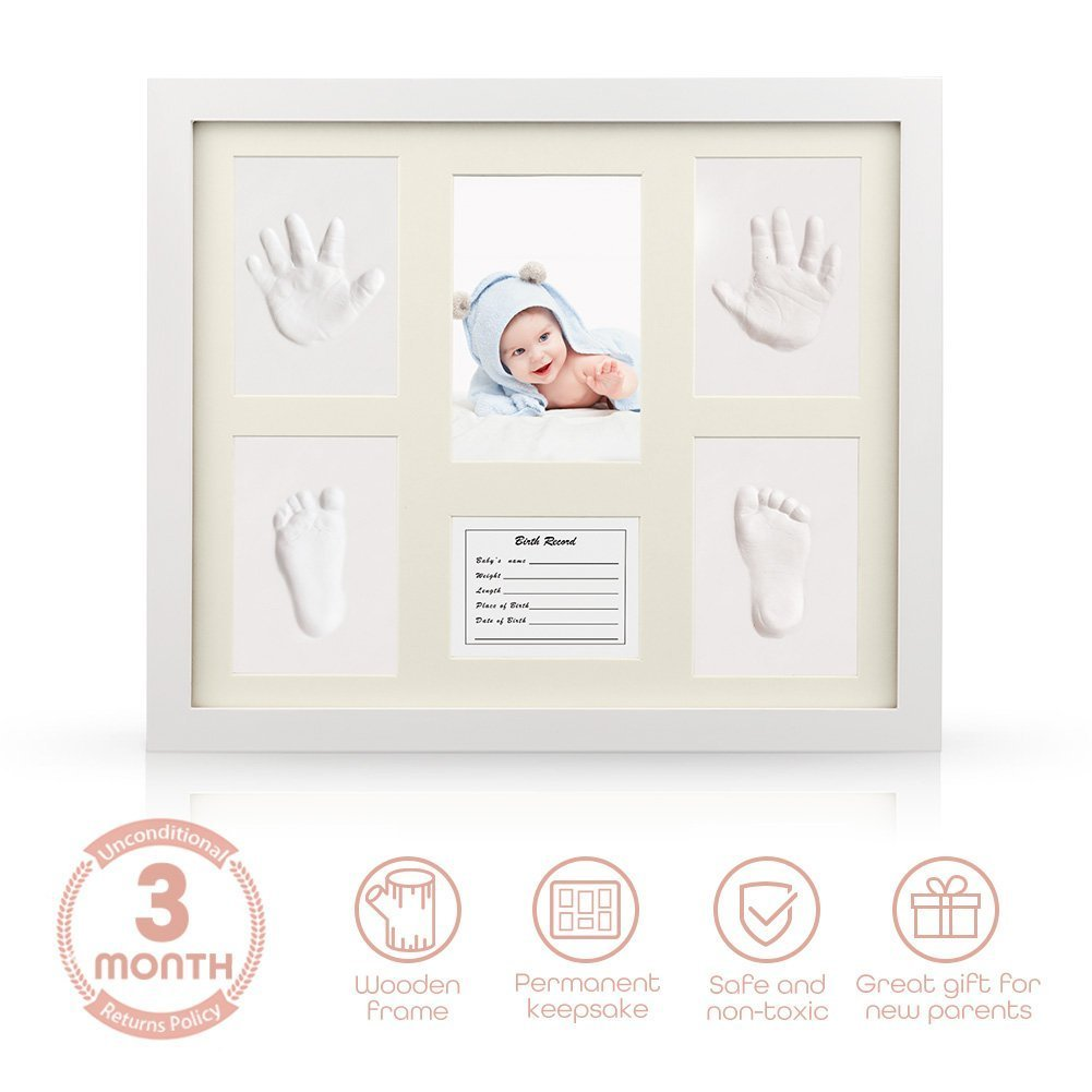 YESURPRISE Baby Handprint Kit Hand & Footprint Makers DIY Picture Photo Frames Non Toxic Clay Memorable Keepsakes Decoration for Newborn Baby Shower Gift Room Wall Table Décor Boy Girl, Wooden Frame+White Inkpad