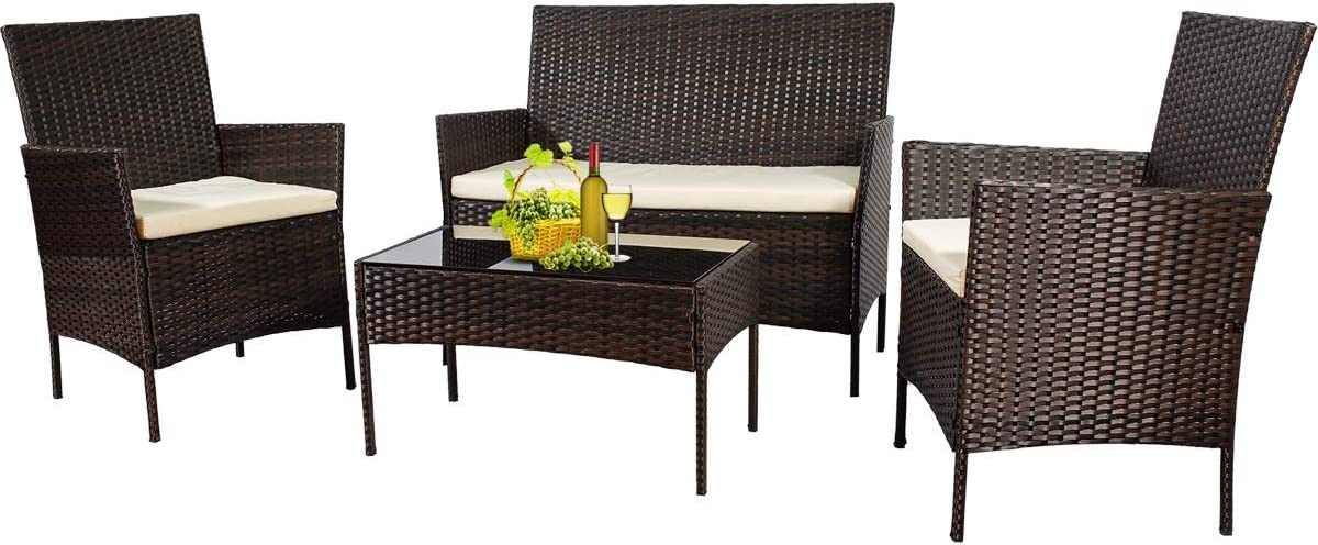 Patio Furniture Sets Outdoor 4 Pieces Indoor Outdoor Use,Conversation Sets with Cushion,Rattan Wicker Chair with Coffee Table for Indoor Backyard Lawn Porch Garden Poolside Balcony (New Brown)
