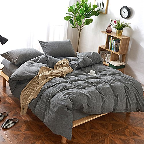 MooMee Duvet Cover Set 100% Washed Cotton Linen Like Bedding Textured Breathable Durable, Soft (3pcs, Dark Grey, Queen)
