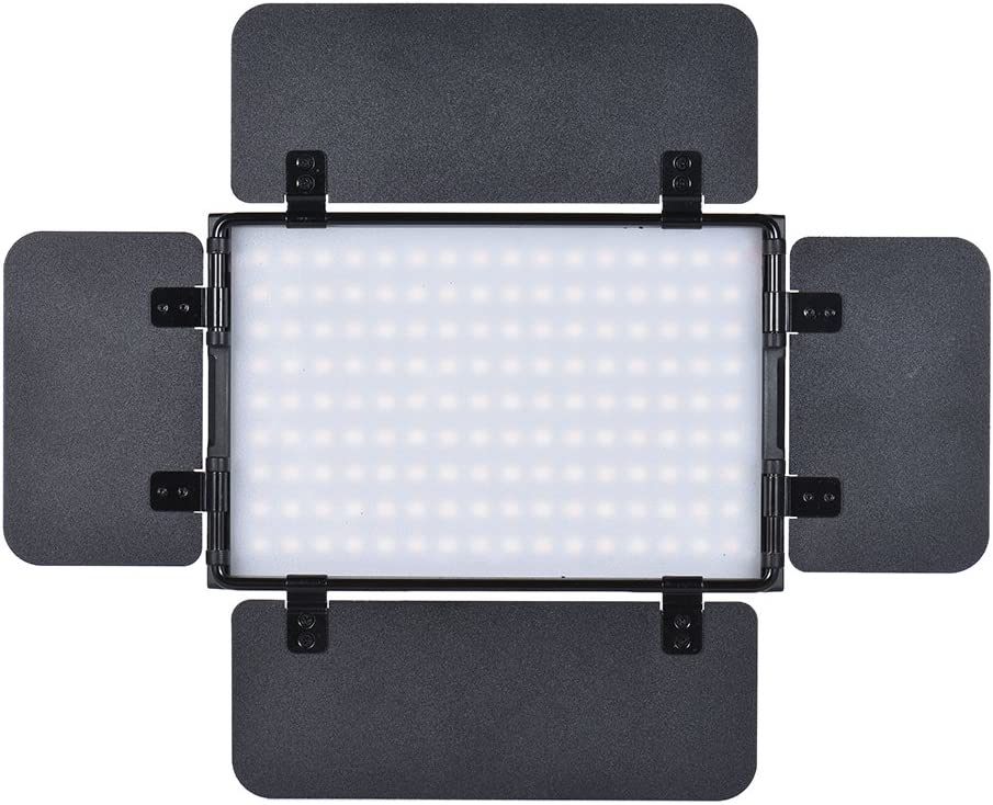 Walmeck Tolifo PT-15B PRO II 15W LED Panel Light Dimmable Bi-Color 3200K 5600K Ultra-Thin Aluminum Alloy On-Camera Lamp with 4-Leaf Barn Door LCD Screen Support 2.4G Wireless Remote Control