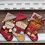 Christmas Stocking, SMTHOME 18'' Set of 3 Santa, Snowman, Reindeer, Xmas Character 3D Plush with Faux Fur Cuff Christmas Decorations and Party Accessory(Down hat)