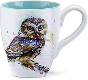 Saw Whet Owl Watercolor Blue On White 12 Ounce Glossy Stoneware Mug With Handle