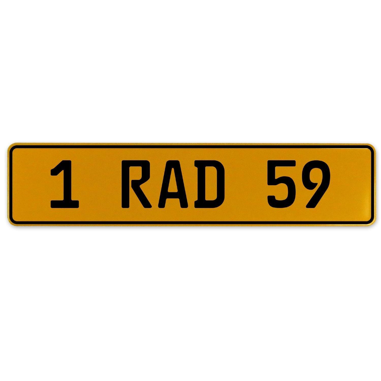 Vintage Parts 559111 Yellow Stamped Aluminum European Plate 1 RAD 59
