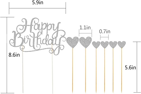 PALASASA Happy Birthday Cake Toppers Silver letters happy birthday and love star,Party decor Decorations,Set of 7
