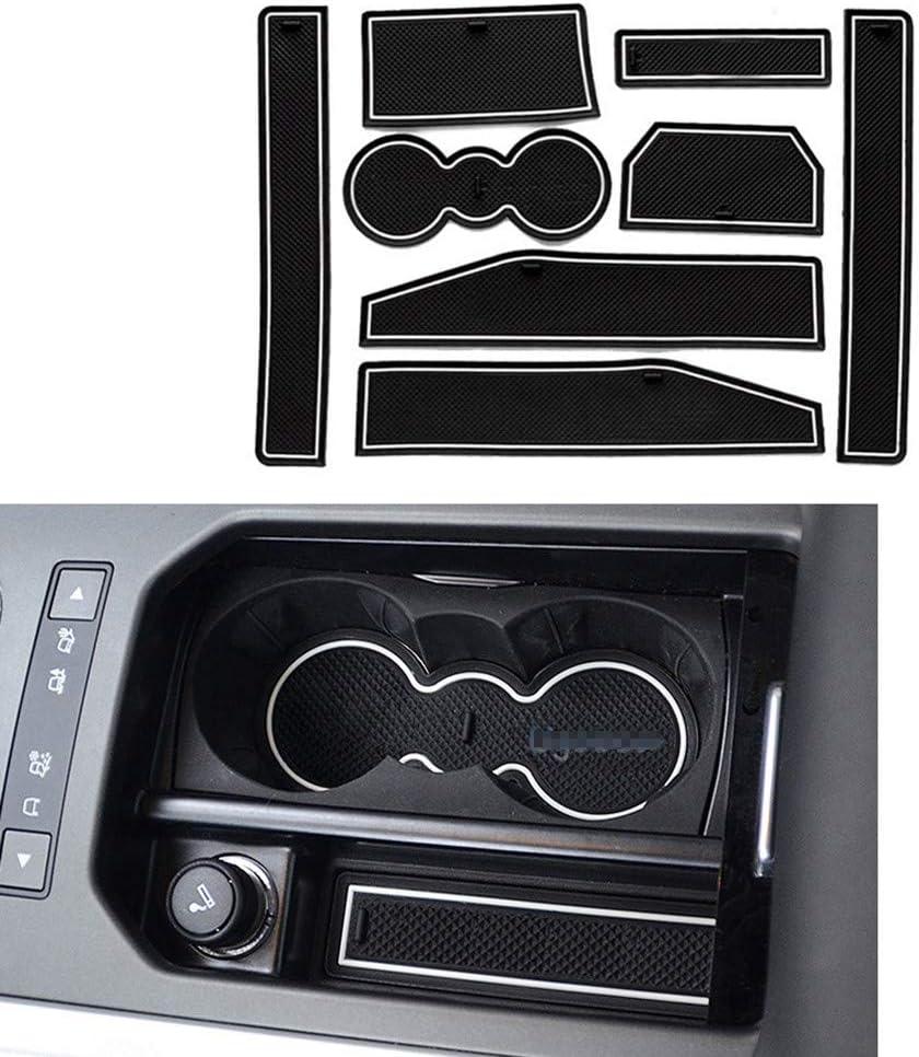 Maiqiken Tapis De Groove De Porte Tapis Anti-poussi/ère pour Land Rover Evoque 2012-2015 Tapis en Caoutchouc Anti-d/érapant 8 Pcs//Set Blanc