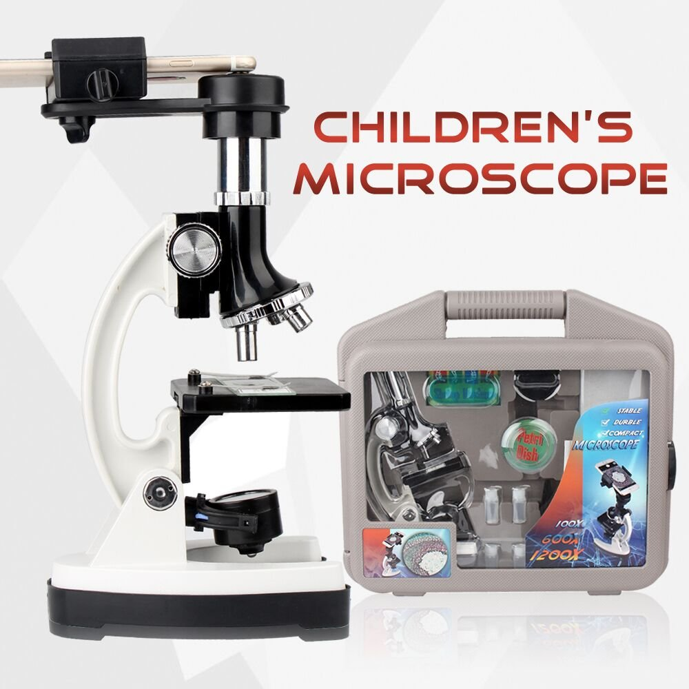 Microscope Kit for Beginners and Kids with Metal Arm and Base, Microscope with Metal Arm and Base, Magnifications from 100x to 1200x - Includes 52-Pieces Accessory Set and Case With Cellphone Adapter