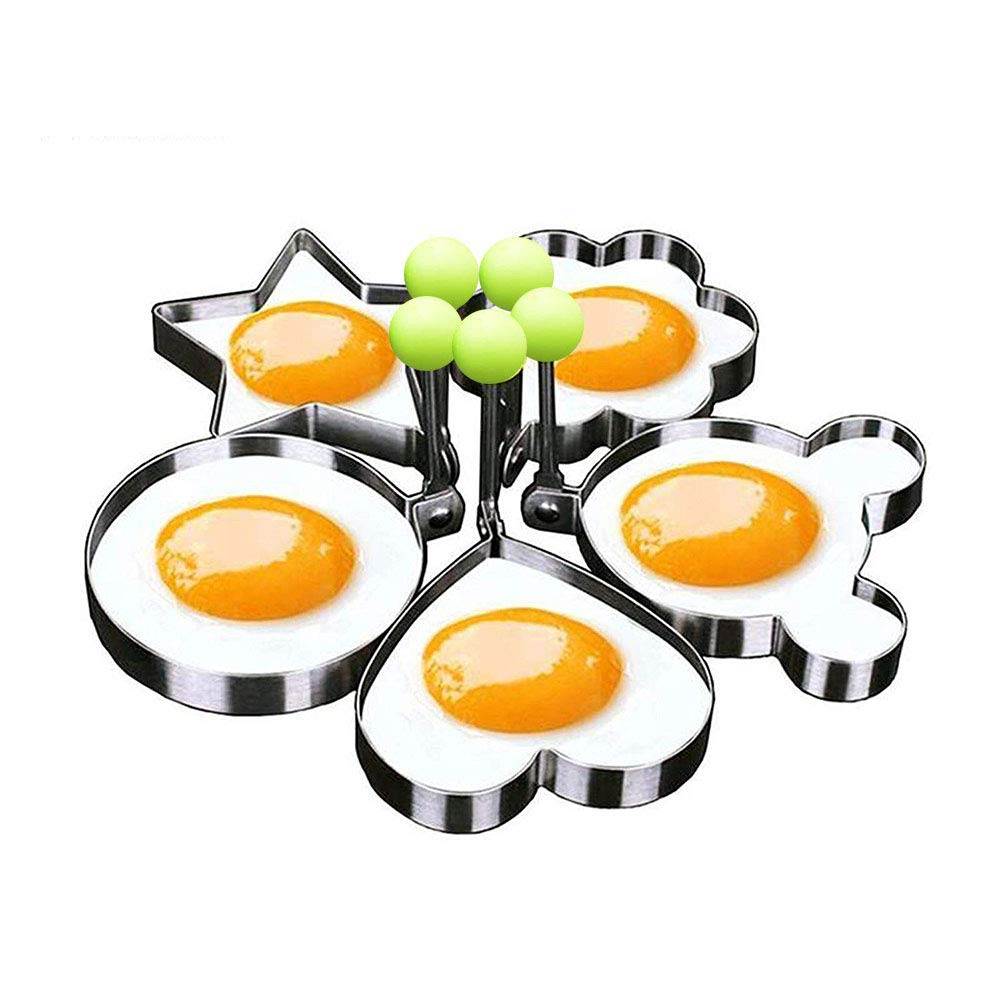 Eshop99 Egg Mold Ring Stainless Steel Egg Pancake Mold Ring Kitchen Utensil for Creative Breakfast 5 Piece Set--- Round, Heart, Flower, Five-Pointed Star and Mickey Mouse Shaped Egg Mold Ring by Yummy Sam