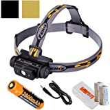 Fenix HL60R 950 Lumens (Black or Desert Yellow Finish) Rechargeable LED Headlamp with 18650 Battery, USB Charging cable, LumenTac Organizer and Backup CR123As