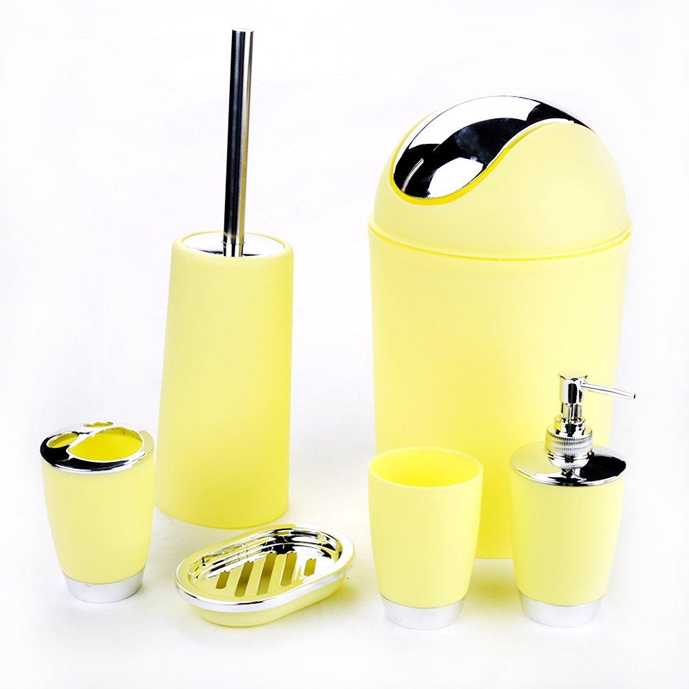 BEYST 6Pcs Bathroom Sink Accessory Set, Lotion Dispenser, Toothbrush Holder, Tumbler Cup, Soap Dish, Trash Can, Toilet Brush(Light Yellow)