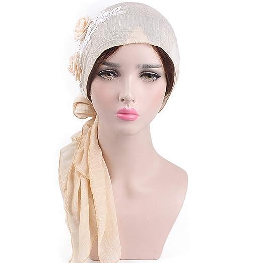 62e82b2dca8 Women Turban African Chemo Head Scarf Muslim Hat Hijab Cancer Headwear Wrap  Cap at Amazon Women s Clothing store